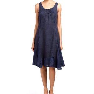 fb6101c93b Lina Tomei Navy Linen Dress with Ruffled Bottom